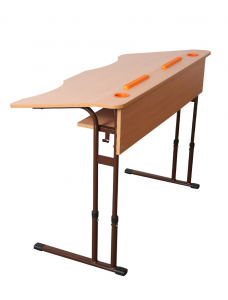 Double anti-scoliotic desk with variable height