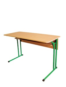 Double pupil's desk with rounded corners