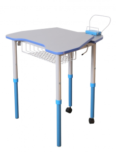 Mobile table with height and tabletop slope adjustment, with shelf
