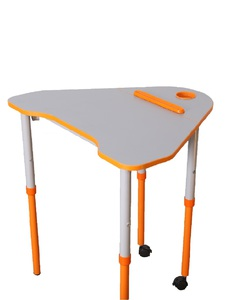 Universal mobile table with height and tabletop slope adjustment