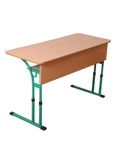 Double pupil's table with tabletop with rounded corners, with variable height
