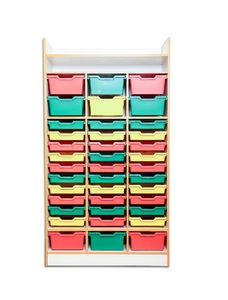 Storage cabinet with plastic drawers