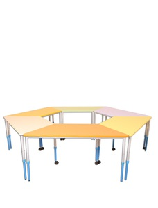 "Mobile modular height-adjustable table ""Trapezium"""