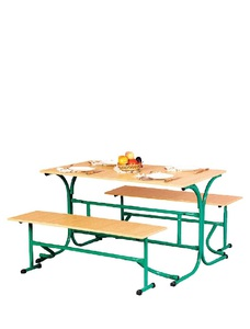 Table for canteen with folding benches
