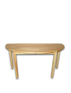 Children's semi-circular table made of natural wood