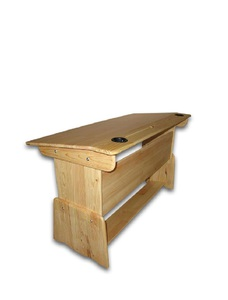 Children's double table-desk made of natural wood with variable height